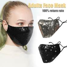 Women Fashion Mouth Mask Cotton Anti Dust Anti Haze Washable Reusable Glittering Face Mask with Paillette(China)