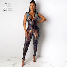 Justchicc Bodycon Lovertjes Sexy Jumpsuit Mouwloze Club Party Skinny Rompertjes Vrouwen Jumpsuit Diepe V-hals Mesh Shiny Overall 2019(China)