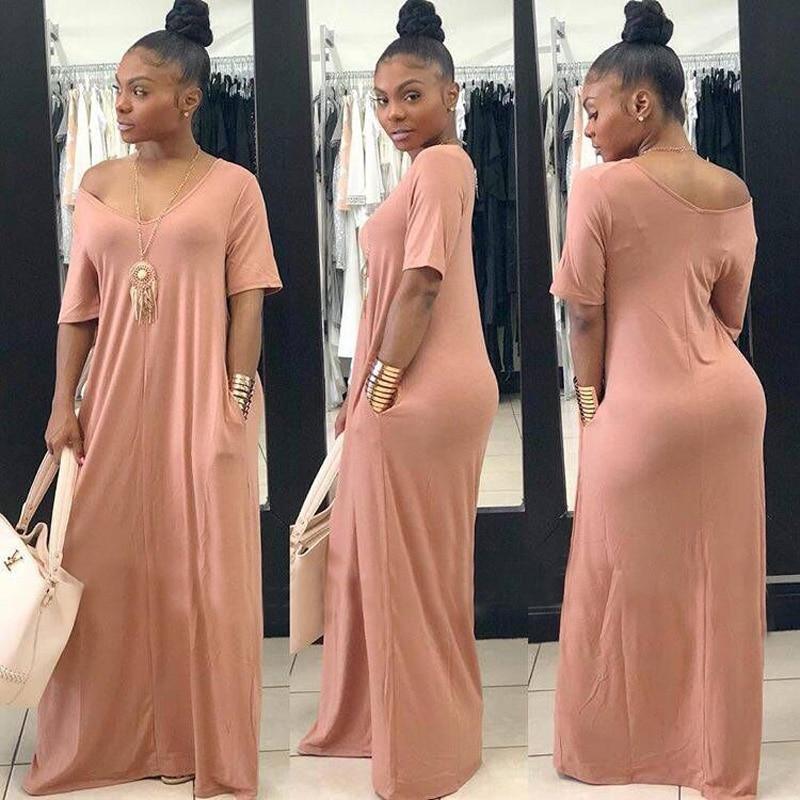 ChocoMist Dress Casual Pockets Design Floor Length Home Dress TS860