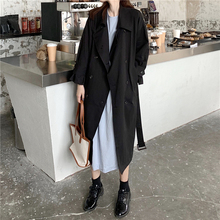2019 Autumn Famale Trench Coat Turn-down Collar Double-breasted Chalaza Windbrea