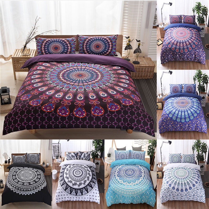 Mandala Bedding Set Floral Paisley Pattern Duvet Cover Set Bohemian Comforter Bedding Sets Adult Girl Single Queen King