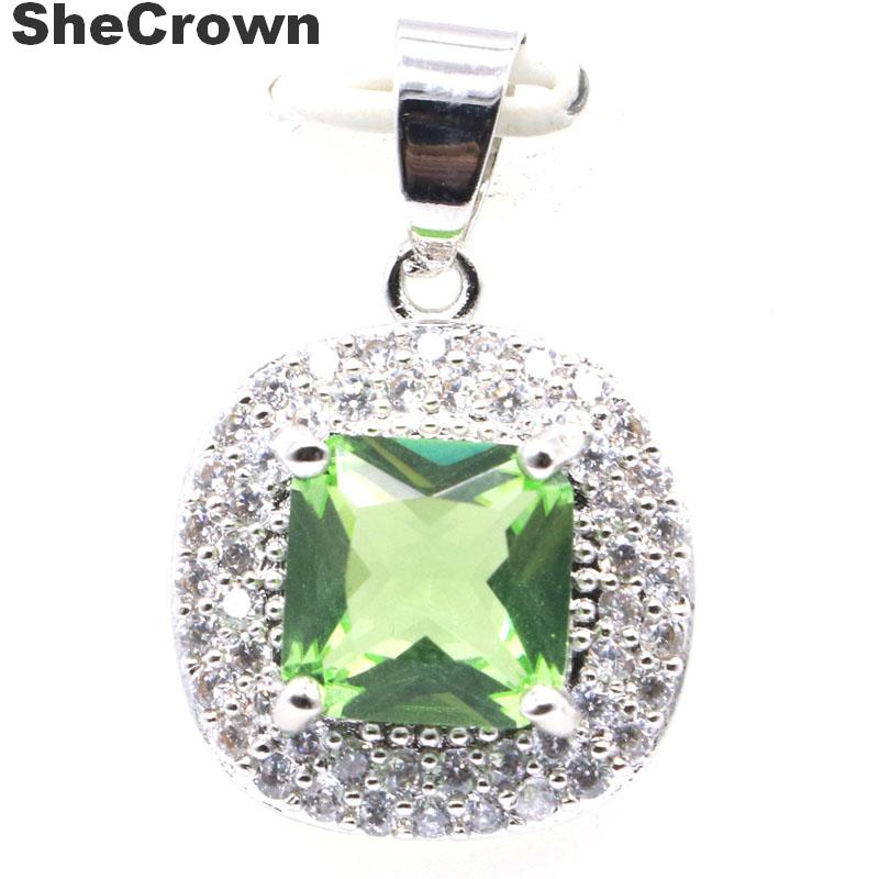 26x17mm Dazzling Created Green Tsavorite Garnet CZ Ladies Silver Pendant