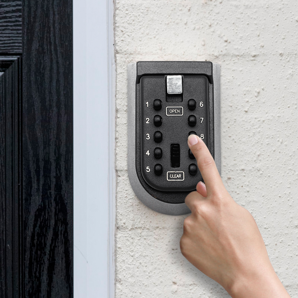 Wall Mounted Outdoor Key Storage Lock Box 10 Digit Push-Button Combination Password Key Safe Box Resettable Code Key Holder