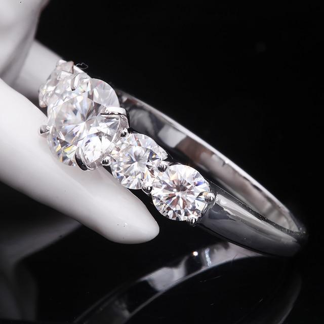 2.2 quilates 6.5mm d cor vvs1 redondo excelente corte moissanite casamento anel de noivado sólido 18 k ouro branco anel fino para senhora 3