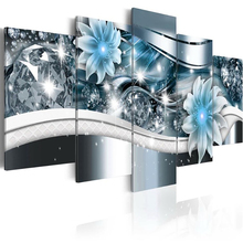 5 Panels 5D Diy Full Square Diamond Painting Abstract Flowers Multi-Picture Combination 3D Embroidery Kit Home Decor Style1 new full 5d diy daimond painting cross switch hedgehog taxi 3d diamond square round rhinestones embroidery