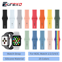 Soft Silicone Sports Band for Watch 5 4 3 2 1 W26 44MM Bands Rubber WatchBand High Quality Watch Strap For Watch Series 5 4