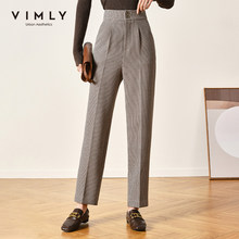 Vimly Winter Women's Suit Pants Elegant High Waist Plaid Pockets Buttons Office Lady Work Wear Bottoms Female F3652