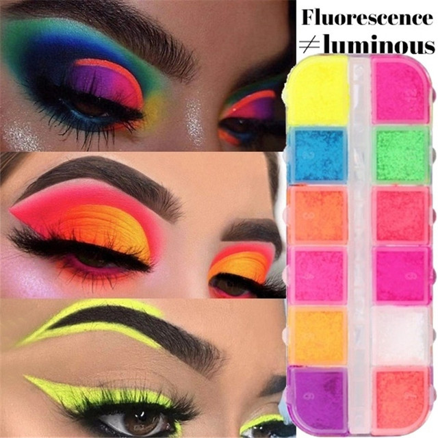 12 Colors/Box Fluorescent Neon Pigment Eye Shadow Makeup Palette Glitter Shimmer Eyeshadow Face Body Nail Art Cosmetics Tools