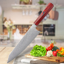 Chef Knife Damascus  Cuisine Kitchen Set Kinfe Tools Gadget Barbecue Wheel Tool Carrier