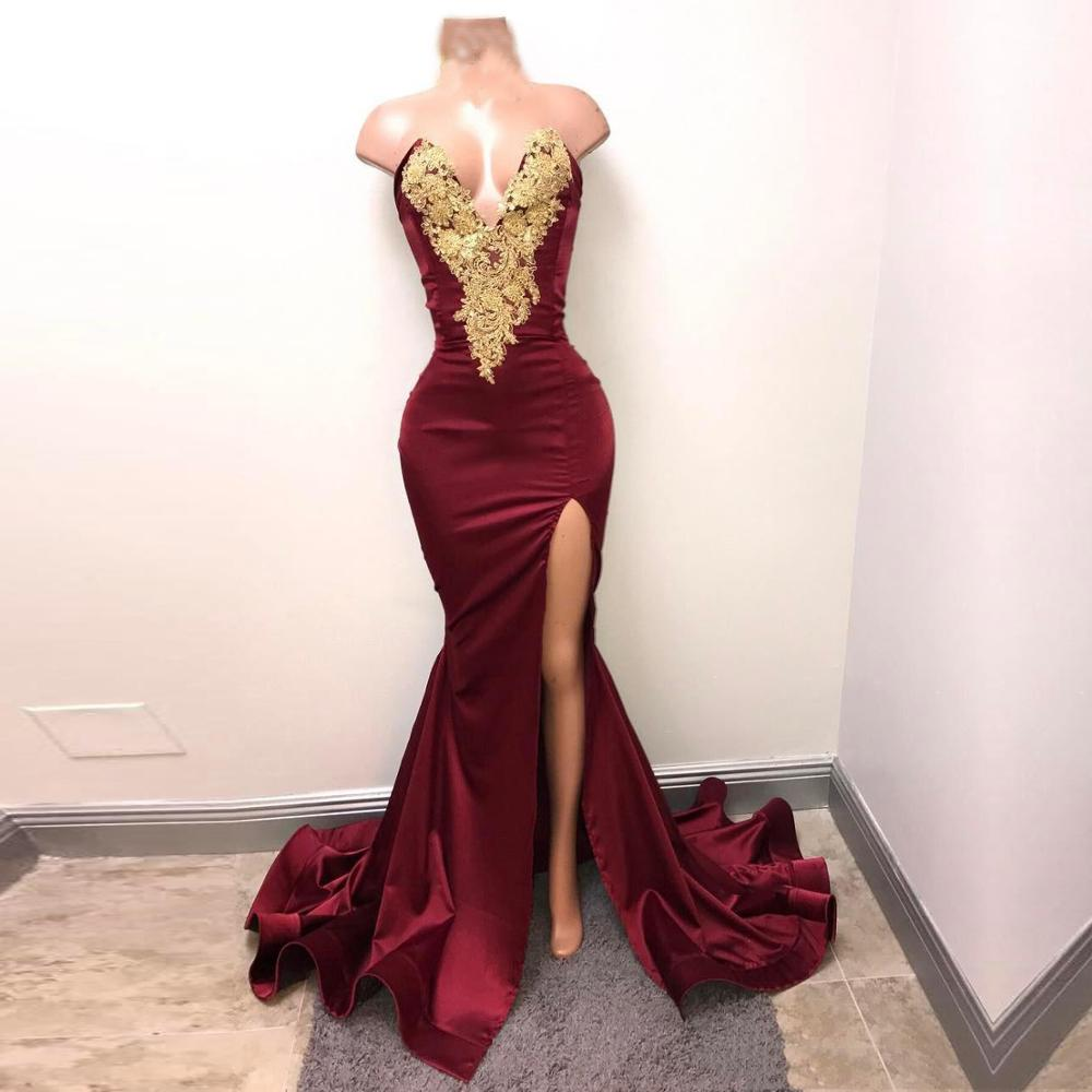 V Neck Mermaid   Prom     Dress   2019 Gold Appliques Satin Evening Party Gowns Robe De Soriee 2020 Wine Red Evening Party Gowns
