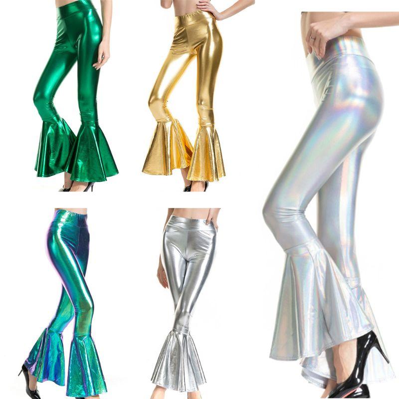 Women Metallic Holorgraphic Flare Leggings 70s Vintage Ruffle Bell Bottoms Pants