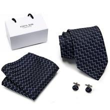 Free shipping Extra long size 145cm*8cm Ties Blue Geometric Hanky Cufflinks Tie Set Mens Silk 8cm Wedding Groom Cravata