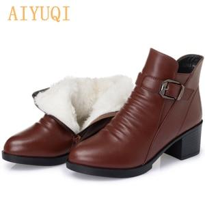 Image 1 - 여성 부츠 2020 겨울 새로운 정품 가죽 여성 부츠 두꺼운 모직 따뜻한 면화 신발 플러스 크기 35 43 발목 부츠 여성