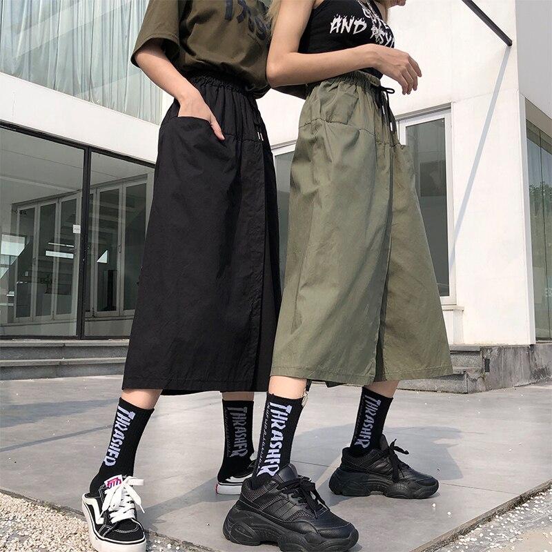 High Waist Loose Long Skirt Shorts Women Summer Autumn Korean Ulzzang Skirt Shorts Womens Spring Plus Size High Street Shorts