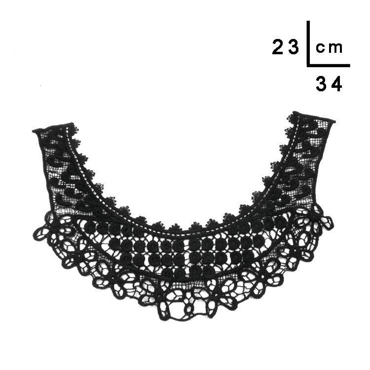 2pcs Black Embroidered Lace Luxury Dress Collar Applique Sewing On And Embellishments