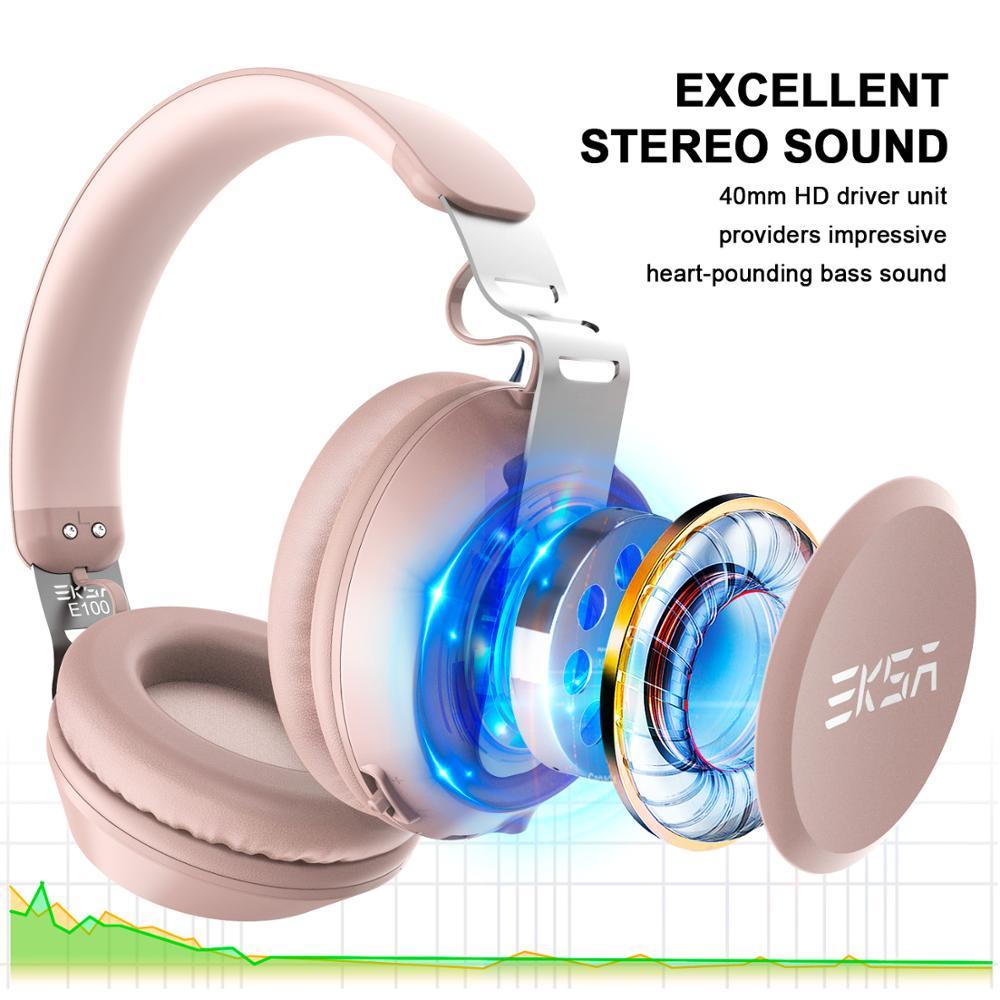 Image 4 - EKSA оригинальные беспроводные наушники CVC 6,0 шумоподавление  Гарнитура с 30 H время игры Проводные Bluetooth наушники с микрофоном  розовыйНаушники и гарнитуры