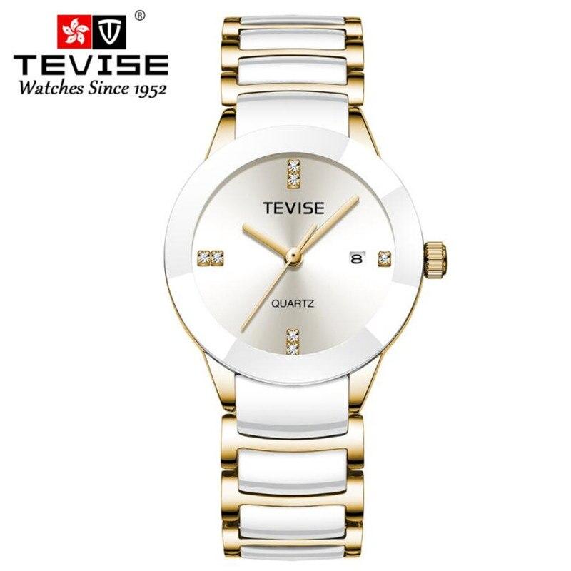 TEVISE Original Brand Couple Watch Men Watch Women White Ceramic Fashion Watches Clock Reloj Hombre Reloj Mujer Montre