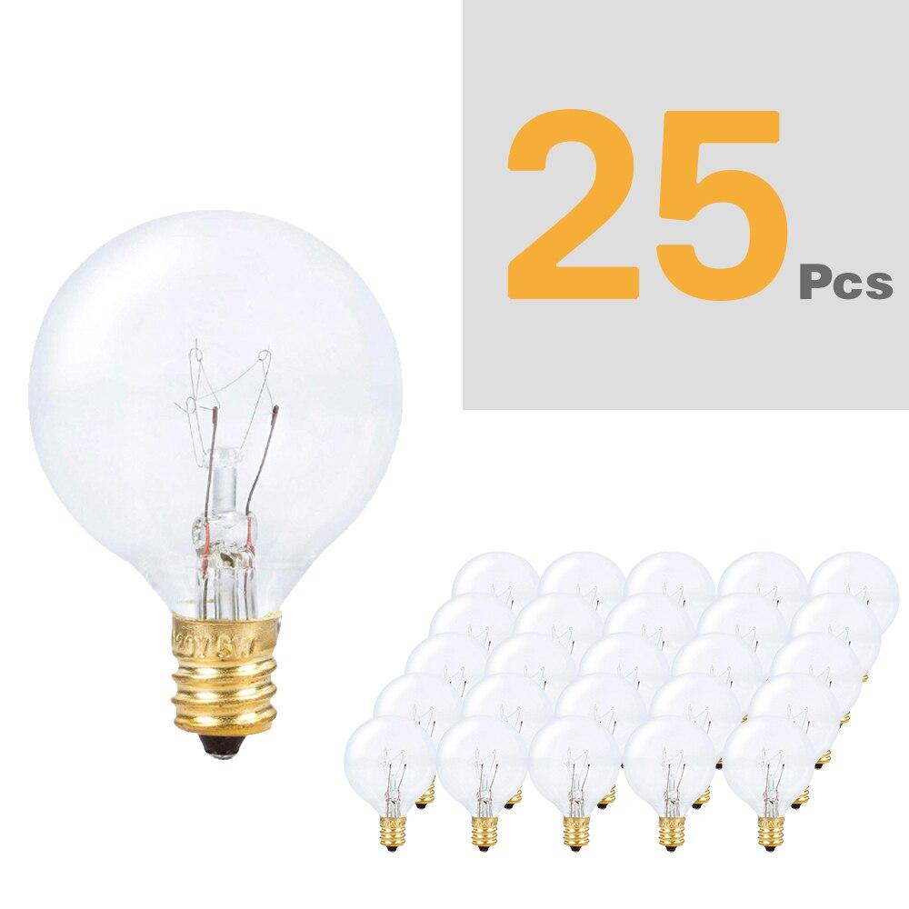 25Pcs G40 String Light Bulb Replace 120V/220V Tungsten  Bulb E12 Base Socket Holder Bulb For Home Garden Decoration
