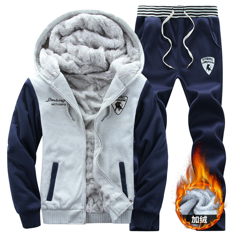 Winter MEN'S Casual Suit Brushed And Thick Sports Baseball Uniform Set Hoodie Casual Sports Clothing
