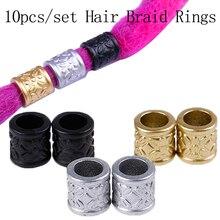 10pcs/pack Dreadlock Hair Braid Ring Beads Dreadlocks Cuff Clip Accessories