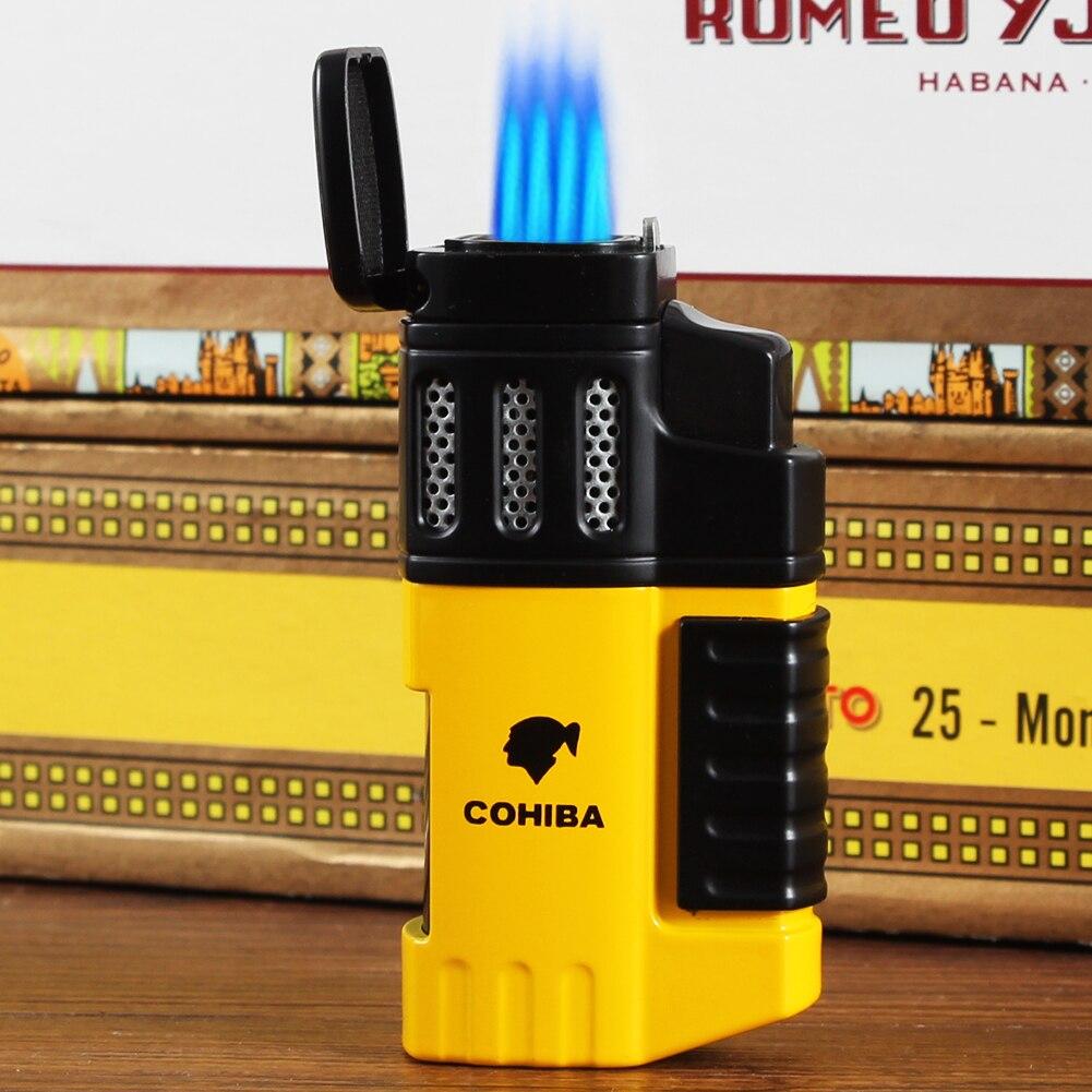 COHIBA Butane Gas Lighter Tobacco Windproof 4 Jet Blue Flame Torch Cigarette Lighters Smoking Metal Pocket Cigar Lighter