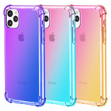 New gradient transparent mobile phone case for iPhone 11 X XS XR XSmax 8 7 6 6S PluS 5 5s four-corner anti-drop protection cover