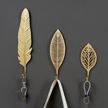 Leaves Shape Iron Hook Nordic Wall Decoration Leaf Key Watch Bags Jewelry Haning Hook Mutifuctional Wall Hanger Rack 1