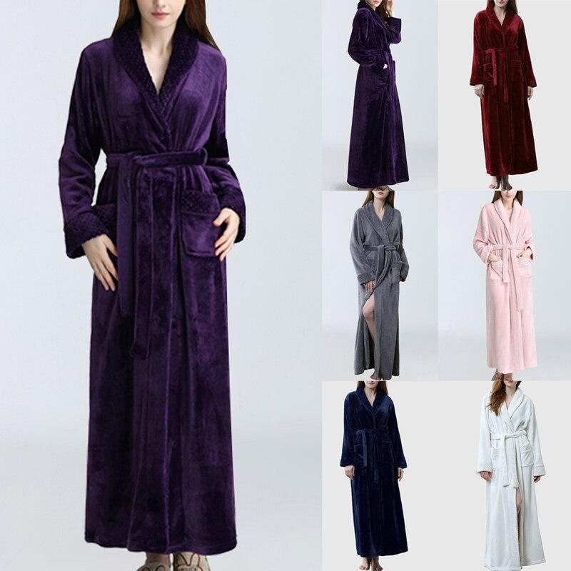 Hiver épais chaud Couple peignoir femmes hommes corail polaire Kimono Robe chemise de nuit Robe de bain vêtements de nuit en vrac doux longue vêtements de nuit