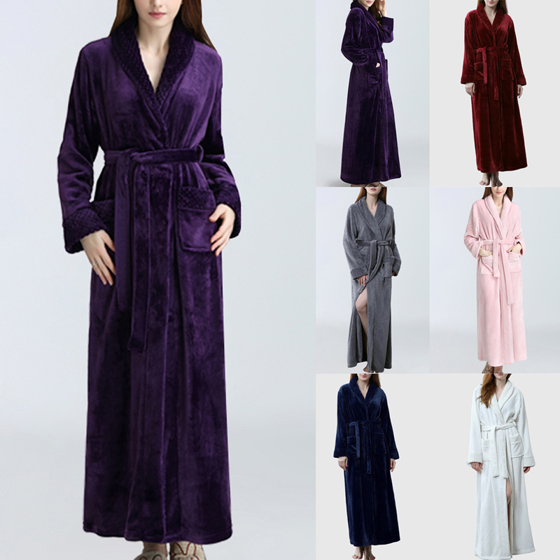 Winter Thick Warm Couple Bathrobe Women Men Coral Fleece Kimono Robe Nightgown Bath Gown Sleepwear Loose Soft Long Nightwear