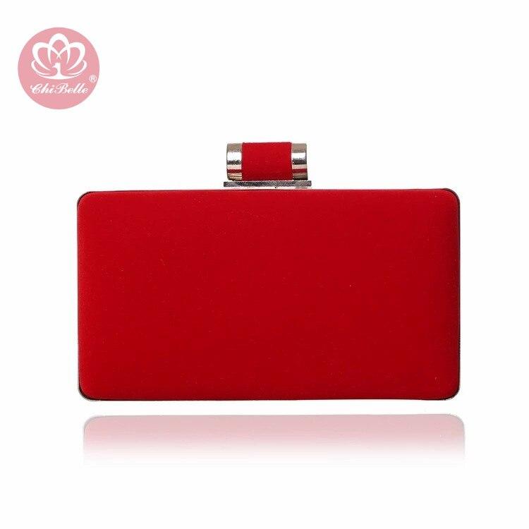 Chi Belle conception simple velours matériel soirée pochette tendance case chaîne rouge mariage mariée mode femme sac à main fabrication