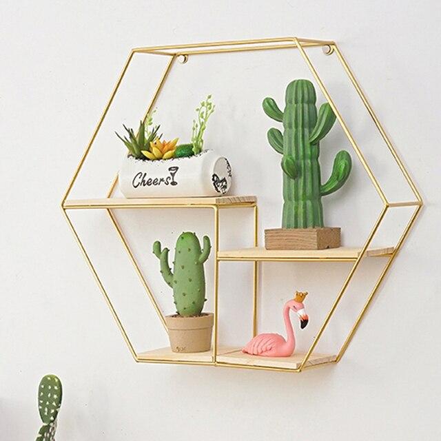 Nordic Style Metal Wood Hexagonal Rack Shelf Geometric Figure Storage Rack Wall Hanging Book Figurines Flower Pot Display Shelf 2