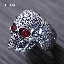 S925 pure Silver red flower skull pure silver ring male punk thai silver men's fashion silver rings