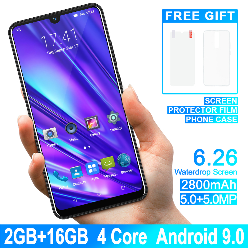 XGODY Celular Smartphone Dual Sim 6.26'' 19:9 Waterdrop Android 9.0 2GB 16GB Quad Core 2800mAh 5MP Camera 3G Mobile Phone 9T Pro