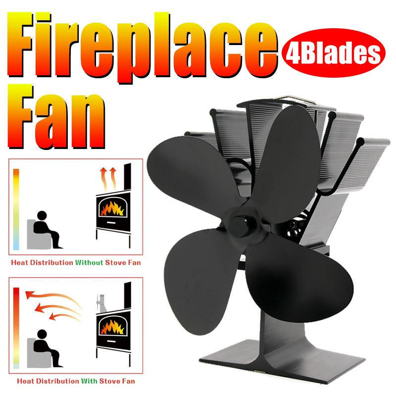 Stove Fan Fireplace 4 Blade Heat Powered Komin Log Wood Burner Eco Friendly Quiet Fan Efficient Heat Distribution Black