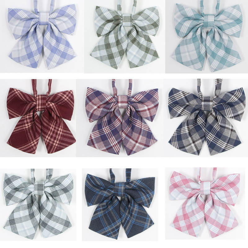 School Dresses For Girl Plaid Bow Tie Lady Jk Uniforms Collar Butterfly Cravat Anime Sailor Suit Striped Tie High School Student