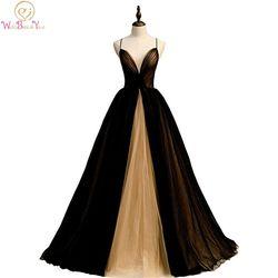 Vestidos de Noche largos para mujeres 2020 negro dorado contraste Color pliegues escote corazón tul espagueti correa una línea Prom vestidos formales