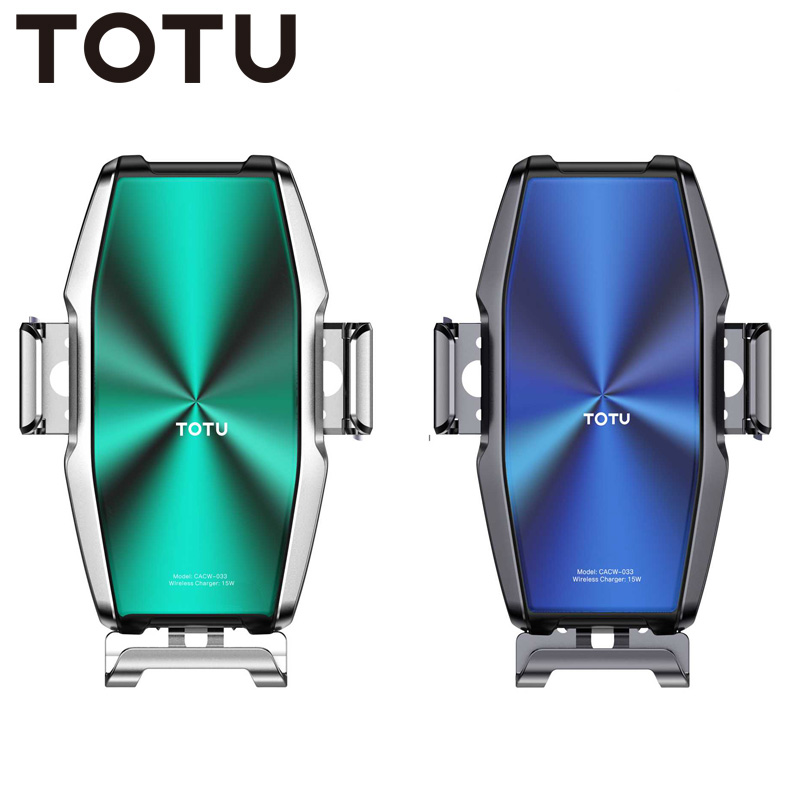 TOTU 15W Wireless Charging Phone Car Holder For IPhone 11 Pro Max Samsung Cool Armor Fast Car Charger Mount Bracket