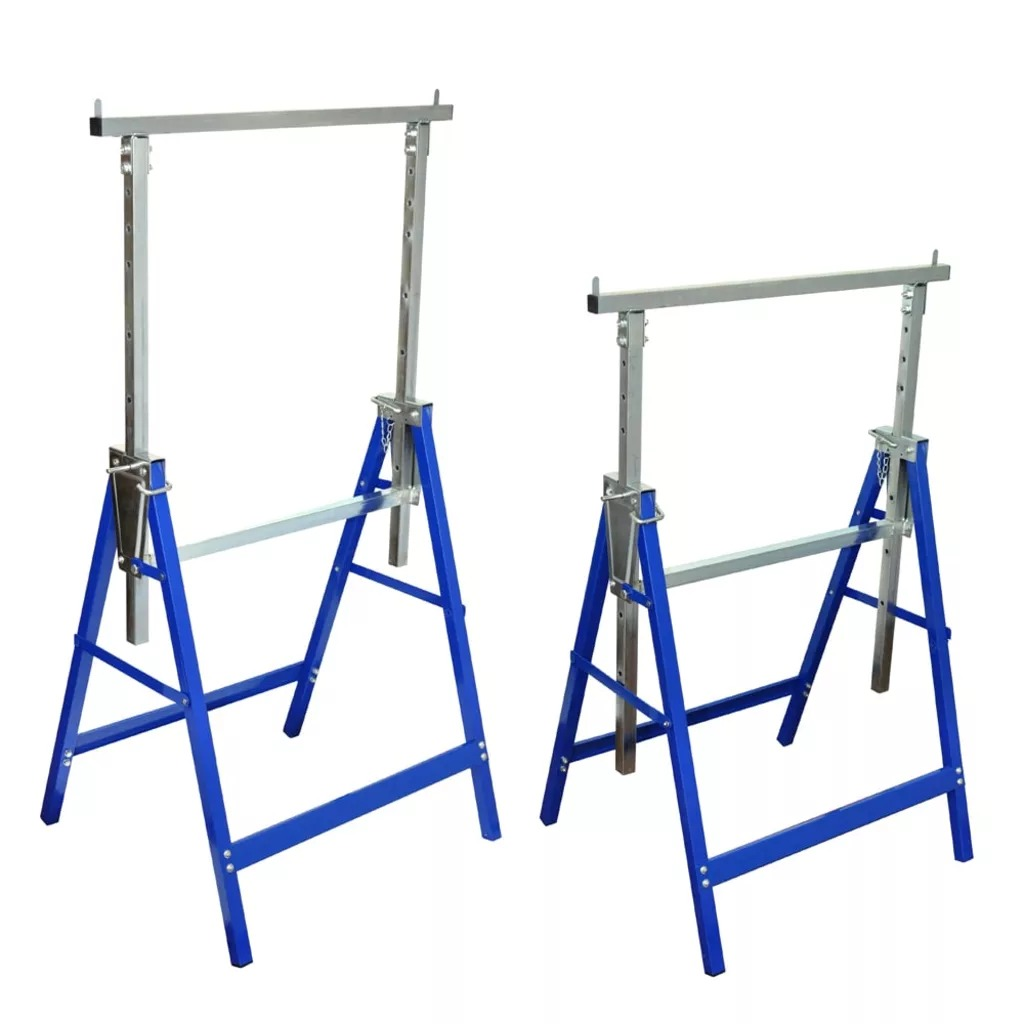 VidaXL Portable Foldable Scaffolding Trestles 2pcs Height Adjustable Trestle With A Solid Steel Construction Anti-Slip