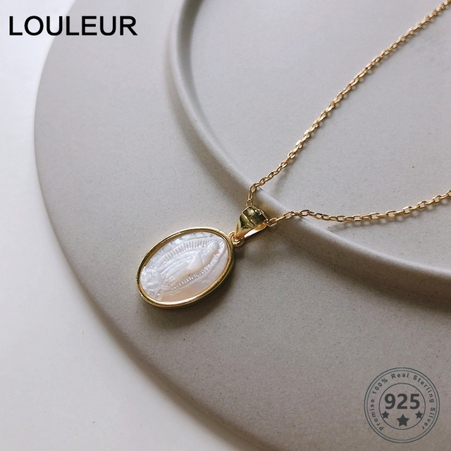 LouLeur 925 Sterling Silver Shell Maria Necklace Gold Original Western Style Madonna Pendant Necklace For Women Jewelry Gifts