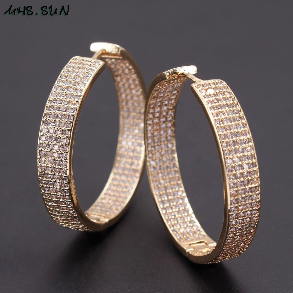 MHS.SUN European style multi layer cubic zircon hoop earrings for women full...