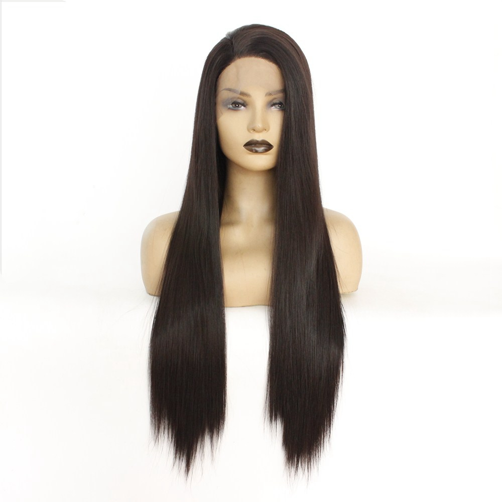 Natural Looking Synthetic Lace Front Wigs 2# Dark Brown Long Straight Wigs with Baby Hair Heat Resistant Full Wig for Women