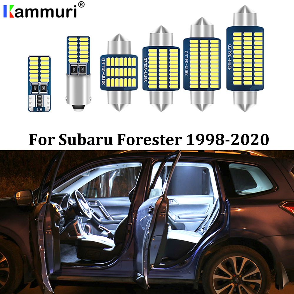 KAMMURI 9X Error Free White LED Car Interior Light Package Kit For 1998-2017 2018 2019 2020 Subaru Forester LED Interior Lights