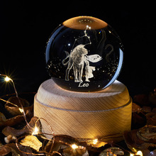 Leo 12 Constellation Star Astro Sky Night Light 3D Crystal Ball Lamp LED DIY Romantic Home Decor Christmas Gift New Year Gifts