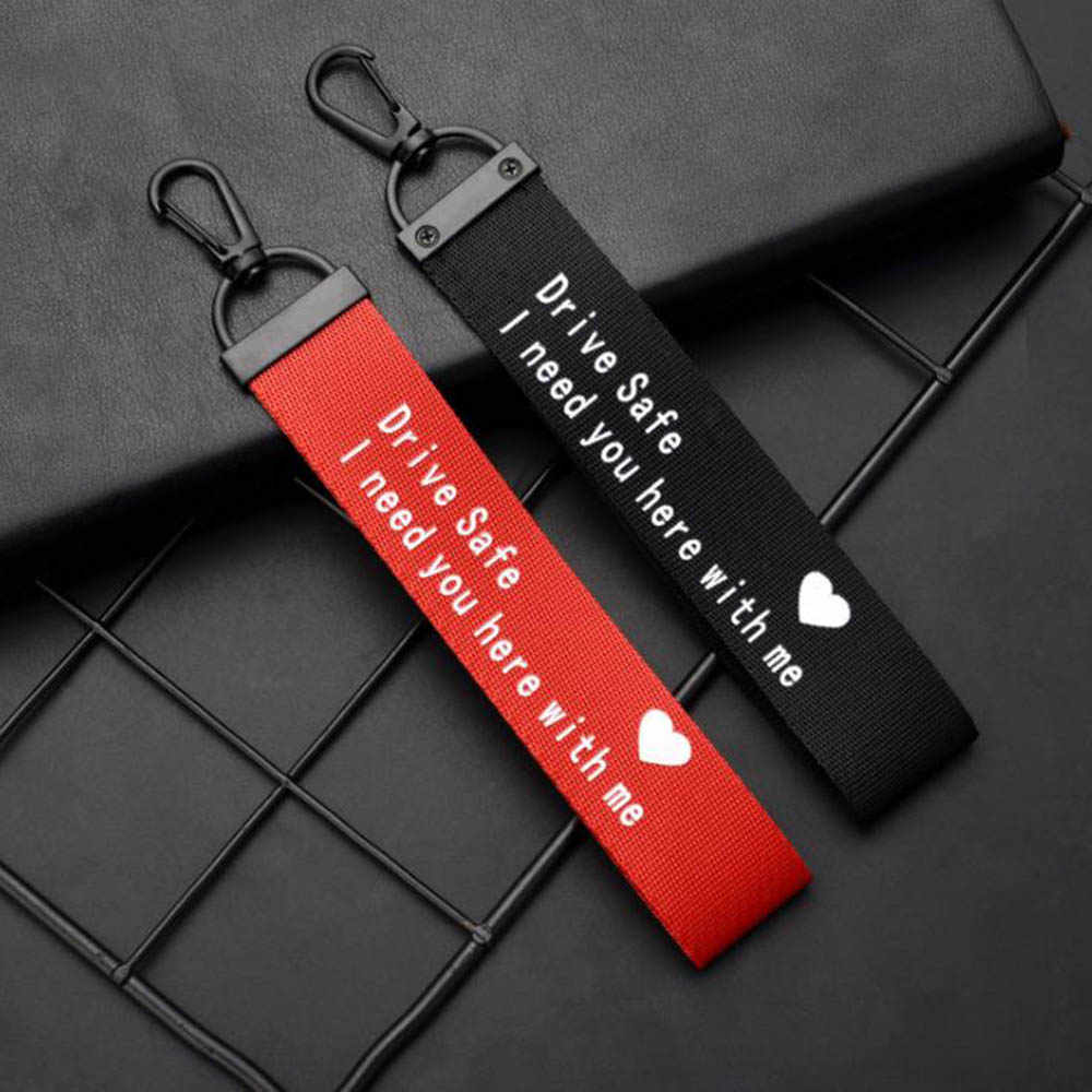 حبل سلسلة مفاتيح الشريط مفتاح سلسلة رسالة مطبوعة محرك أقراص آمنة آمنة أحتاج لكم هنا معي للرجال النساء سيارة حقيبة مجوهرات