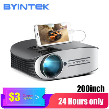 BYINTEK LED Projector M7 ,200inch Home Theater Beamer,LED Proyector for Iphone SmartPhone Full HD 1080P 3D 4K byintek moon gp90 1280x800 cinema usb full hd video wxga led hdmi vga 1080p home theater projector beamer projetor proyector