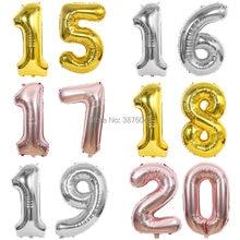 Balão rosa de ouro 15 16 17 19 20 ano, balão rosa dourado prata 16th 17th 19th 40 polegadas balões de aniversário para decoração de festas