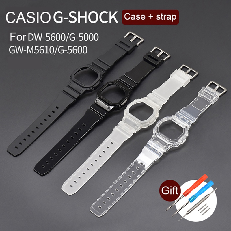 Watch Band Frame Set Pin Buckled TPU Wristwatch Strap Case Replacement Accessories For Casio DW5600/GW-M5610/G-5600/G-5000