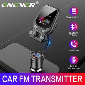 Onever FM transmetteur charge rapide 3.0 lecteur MP3 adaptateur Bluetooth 5.0 double USB chargeur LCD mains libres Kit de voiture pièces électroniques