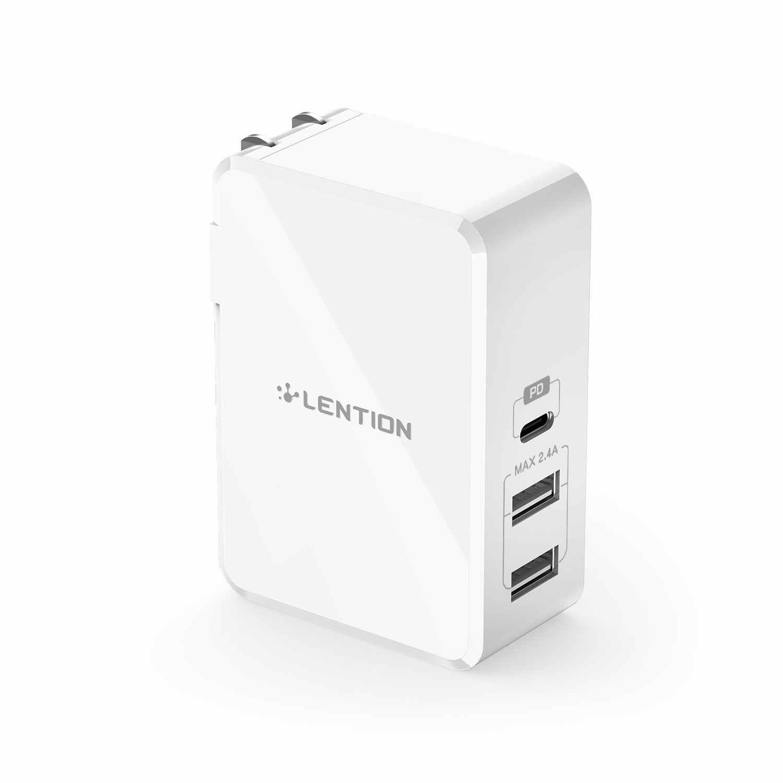 45W 3 منافذ USB-C تسليم السلطة شاحن مع سريع تهمة PD محول ل فون Xs/ماكس/XR /X/8 ، ماك بوك اير/برو ، نينتندو التبديل
