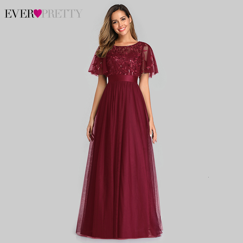 Ultimate SaleEvening-Dresses Short-Sleeve Robe-De-Soiree Tulle Sequined Sparkle Ever Pretty Elegant